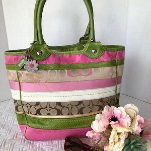 Vintage Coach Bleecker Pink/Green/Khaki Tote